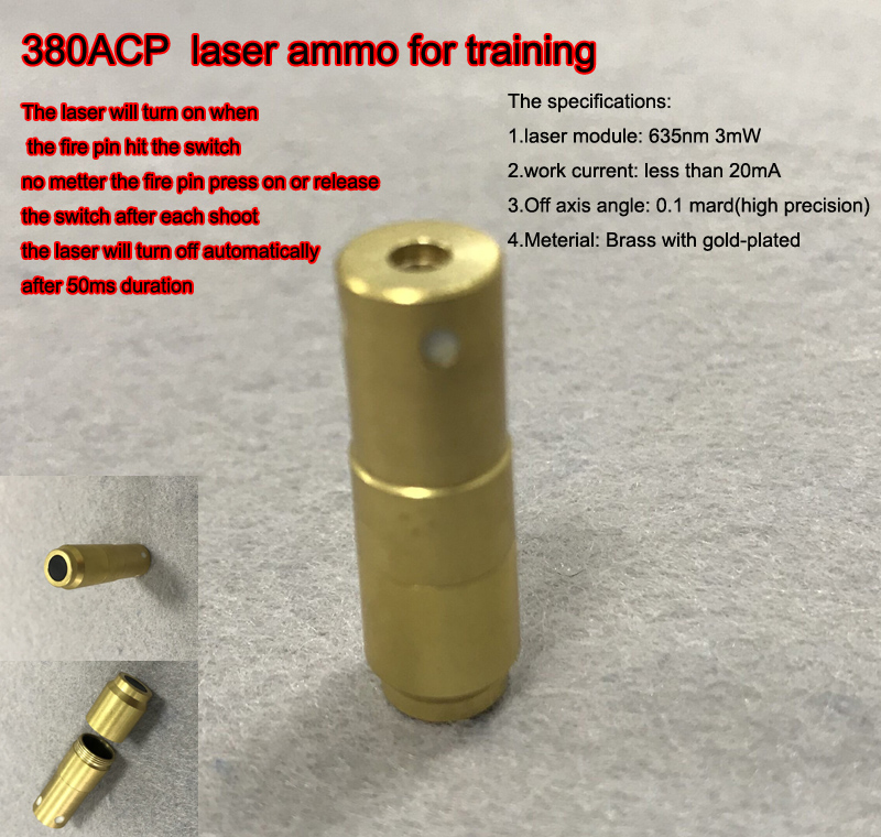 380ACP with 50ms delay Laser Ammo,Laser Bullet, Laser Cartridge for Dry Fire training and shooting simulation-in Lasers from Sports & Entertainment