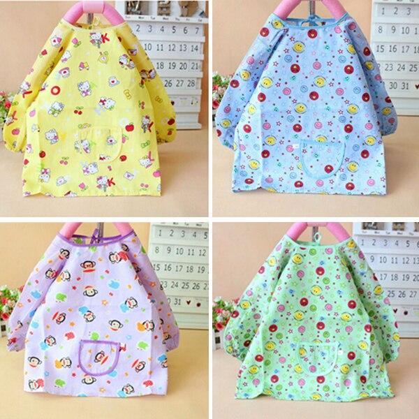 5 Colors Baby Nursing Cotton Covers Waterproof Long Sleeve Eating Clothes Baby Feeding Bibs Smocks