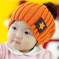 Pentagon Star labeling wool hat knitted hat child star baby hat winter warm hat candy colors