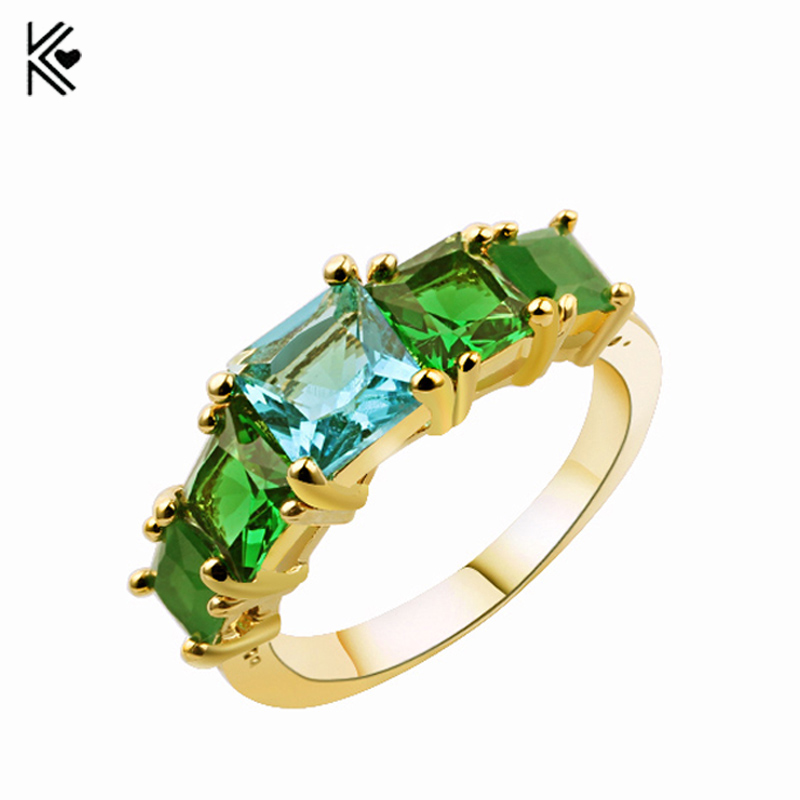 Geometric-Ring Accessories Jewelry Gold-Filled Female Vintage Green Women for And Gifts