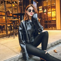 Ptslan New Autumn Fashion Street Women's Short Real Leather Jacket  New Ladies Jackets No lining Good Quality