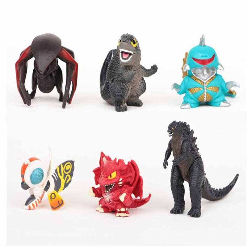 hot ! NEW 6pcs/set 5cm godzilla Action Figure Model toys Children Christmas New Year gifts