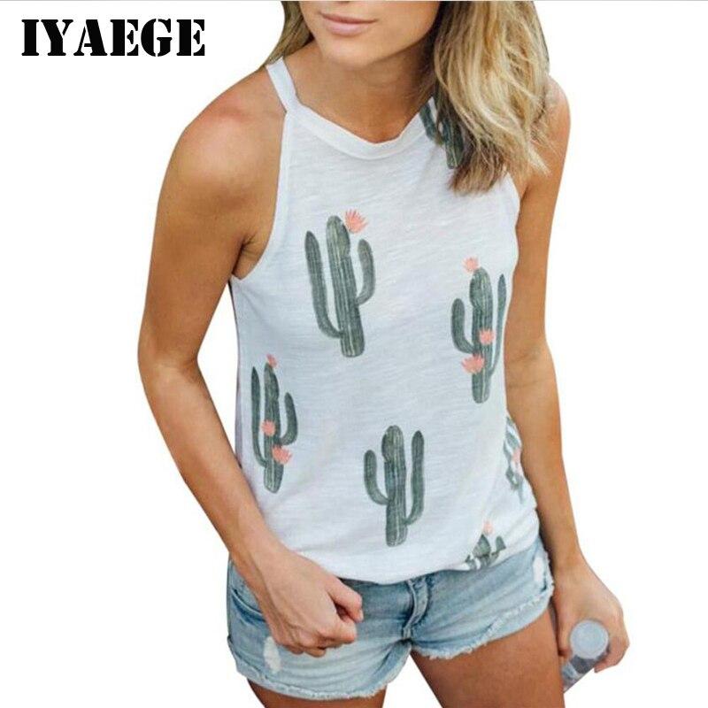 Iyaege пикантные без рукавов с принтом зеленый завод кактус футболка Для женщин футболки Kawaii футболка женская летняя пляжная Повседневная футболка blusas