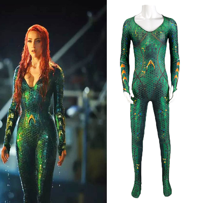 Mera Bodysuit Costume High Quality Queen Mera Costumes With Wig Zentai Catsuit Wife of Aquaman Superhero Bodysuit Fancy Dress