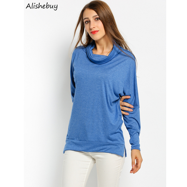 6b625e15d Womens Batwing Sleeve T-shirts Cowl Neck Solid Casual Long Sleeve Tshirts  Office Ladies Asymmetrical Loose T-shirts SVH031860