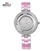 WEIQIN lujo de La Manera de Las Mujeres relojes de cuarzo reloj de pulsera relojes de pulsera de acero inoxidable mujeres relojes reloj mujer