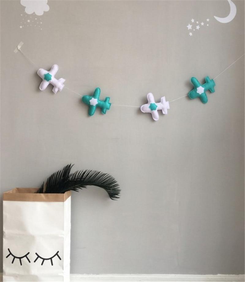 Cute Nursery Airplane Felt Harlands Party Banner Kids Room Nursery Hanging Wall Decor Christmas