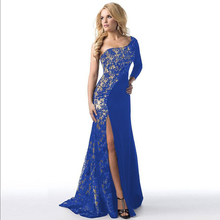 2017 New Evening Party Dresses Women Lace A Style Soild Color Off Shoulder Robe Sexy Maxi