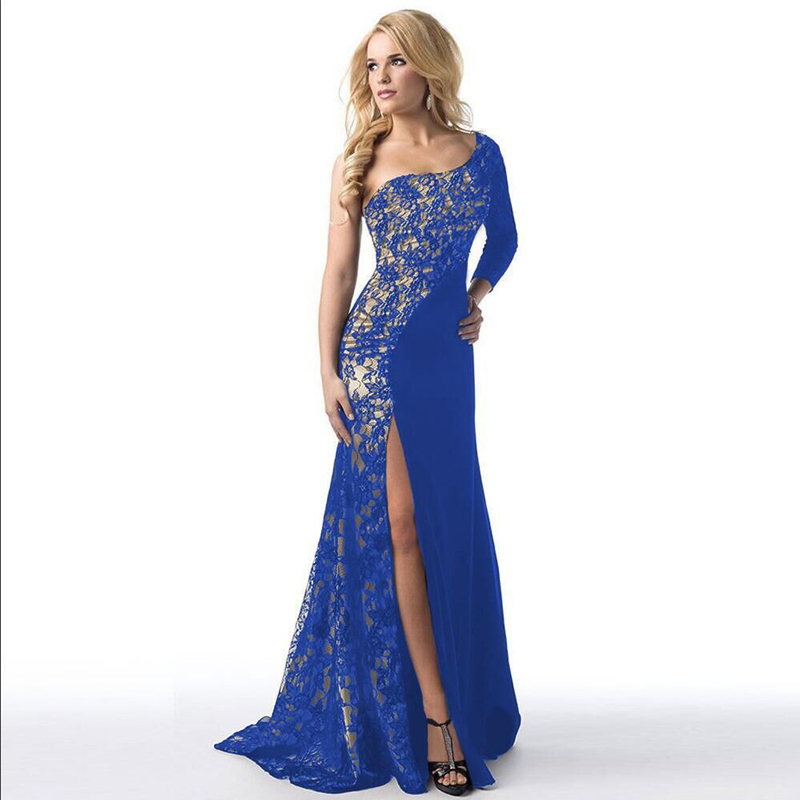 2017 New Evening Party font b Dresses b font Women Lace A Style Soild Color Off