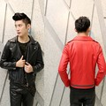 2016 Autumn England style Nightclub costumes PU leather jackets men red casual slim Epaulette PU leather Outerwear for men,M-XL