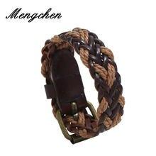 Винтажный Плетеный мужской Многослойный кожаный браслет ручной