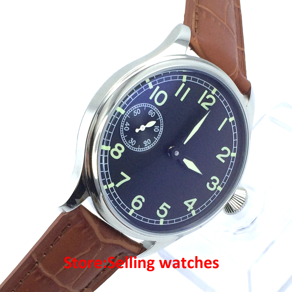 Parnis 44mm  black  Dial 17 jewels 6497 mechanical hand-winding men's watch 44mm black sterile dial green marks relojes 6497 mens mechanical hand winding watch luminous armbanduhr cm164bk