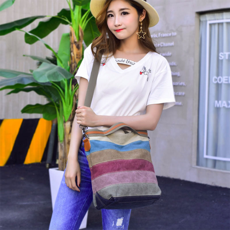 Image 4 - 2018 New Arrival Kvky Large Locket Patchwork Color Handbags Canvas Bag Stitching Shoulder Portable Diagonal Package For Women-in Top-Handle Bags from Luggage & Bags
