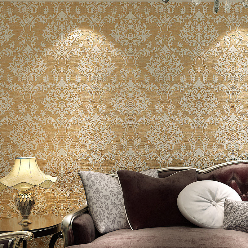 Damascus european-style non-woven fabric washed over thick stereoscopic 3d wallpaper bedroom living room TV setting wall