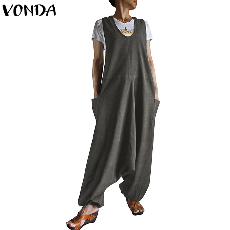 VONDA Fashion 2019 Women Casual   Jumpsuit   Playsuits Vintage Loose Sleeveless Solid   Jumpsuit   With Pockets Harlan Overalls Baggy