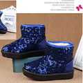 2016 children's snow boots sequins winter boots flat with anti-skid plus velvet cold sports boots