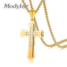 Modyle Punk Big Gold Color Cross Pendant Necklace CZ Stones High Polished Stainless Steel Men Jewelry Wholesale Dropshipping(China)