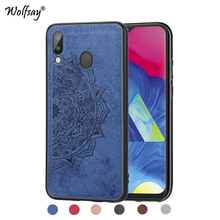 For Samsung Galaxy M20 Shockproof Soft TPU Cloth Texture Hard Back Phone Case Cover Shell