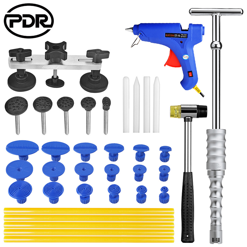 PDR Tool Kit Car Repair Tools Set Pops-A-Dent Car Slide Hammer Pulling Bridge Adhesive Glue Gun Suction Cups For Dents 5 second fix liquid plastic welding kit uv light repair tool glue kit