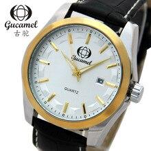 Gucamel 2016 Top Brand Hombres de Lujo de Negocios Reloj de acero Lleno Ocasional Calendario de Pulsera de cuarzo relojes relogio masculino