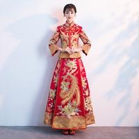Add Rhinestone Rayon Women Wedding Dress Qipao Luxury Novelty Chinese Style Oriental Cheongsam Embroidery Dragon Phoenix Clothes