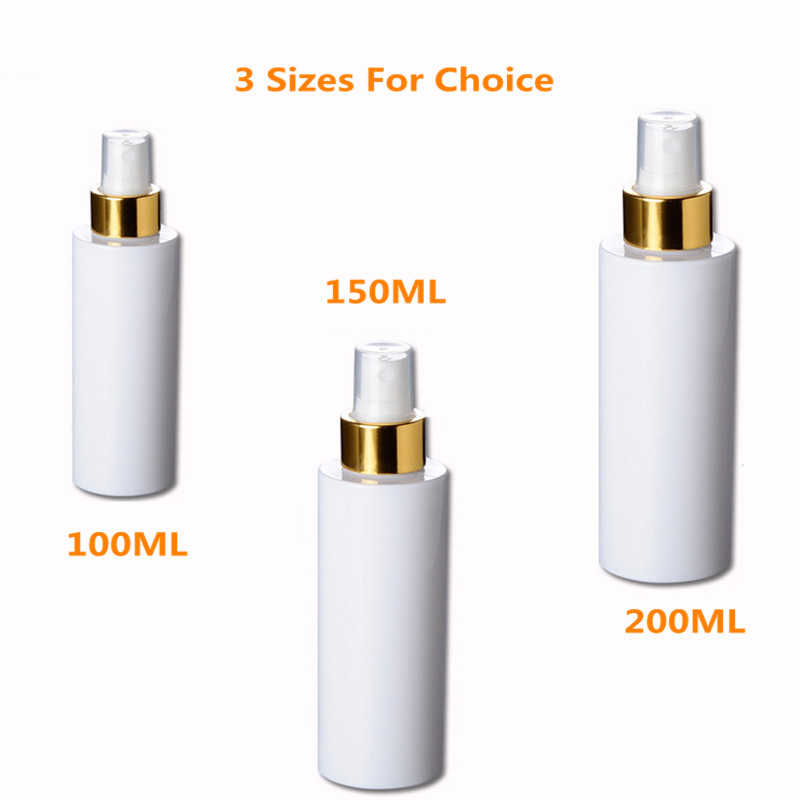 3pc/<font><b>lot</b></font> <font><b>100ml</b></font> Plastic <font><b>Spray</b></font> <font><b>Bottle</b></font> for alcohol with Fine Gold Sprayer Cylinder <font><b>Bottle</b></font>, white With Fine Mist Sprayer And Over cap image