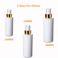 3pc/lot 100ml Plastic Spray Bottle for alcohol with Fine Gold Sprayer Cylinder Bottle, white With Mist And Over cap