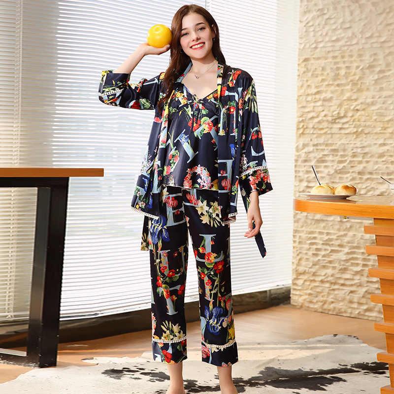 נשים סקסי sleepdress + חלוק שני-חתיכה robe & שמלת חדש הדפסה מעולה באיכות אמולציה משי הלבשת פיג 'מות סט כתונת לילה