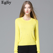 New Fresh yellow Autumn women's Sweater O Neck Shirt Jumper Beads 2017  Knitted long sleeve sweter chic pullovers femme Tops