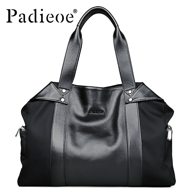 Padieoe New Arrival Luxury Unisex Handbags Women Bags Designer Women's Genuine Leather Messenger Bag Fashion Briefcases For men 2017 new arrival designer women leather handbags vintage saddle bag real genuine leather bag for women brand tote bag with rivet