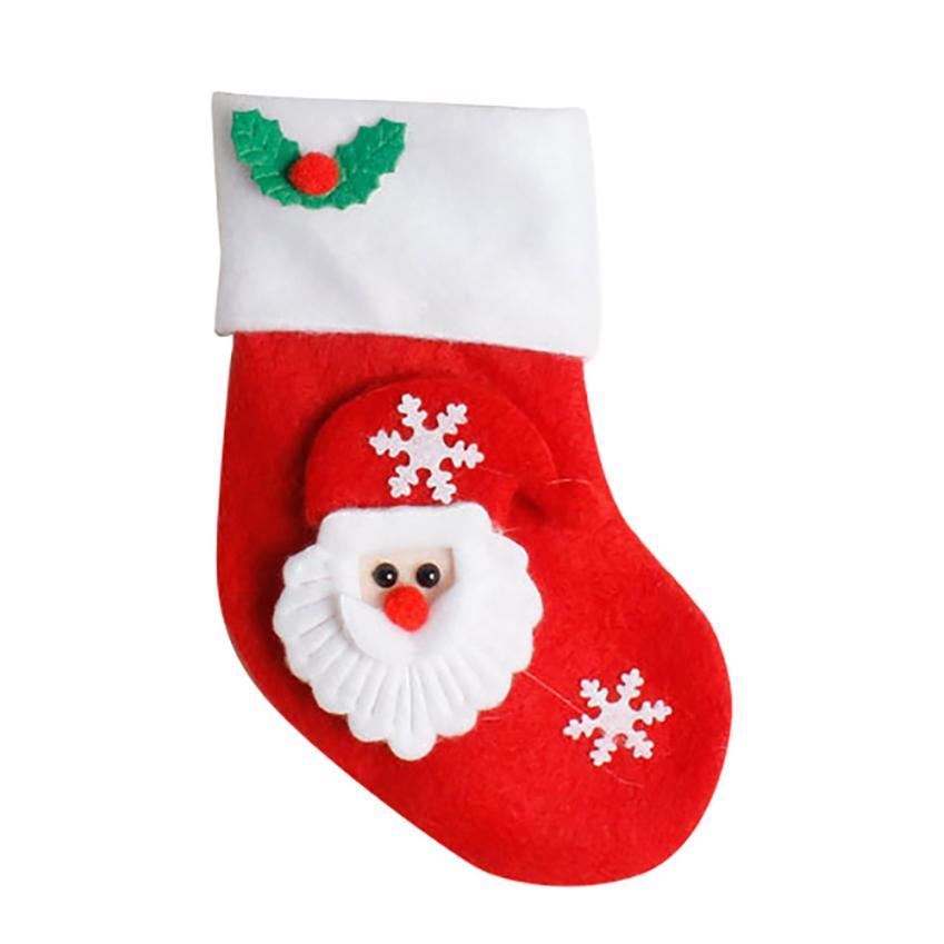 Christmas Socking Dinnerware Cover Decoration Xmas Fork Tableware Bag Kids Candy Bags Hanging Ornaments adorno navidad
