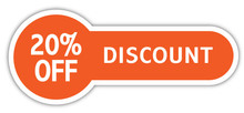12.5x5cm 20% OFF DISCOUNT SALES TAG Self adhesive shop promotion sticker, Item No. PD10