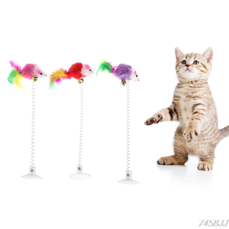 3Pcs Funny Cat Toys Elastic Feather False Mouse Bottom Sucker Toys for Cat Kitten Playing Pet Seat Scratch Toy Pet Cat Products