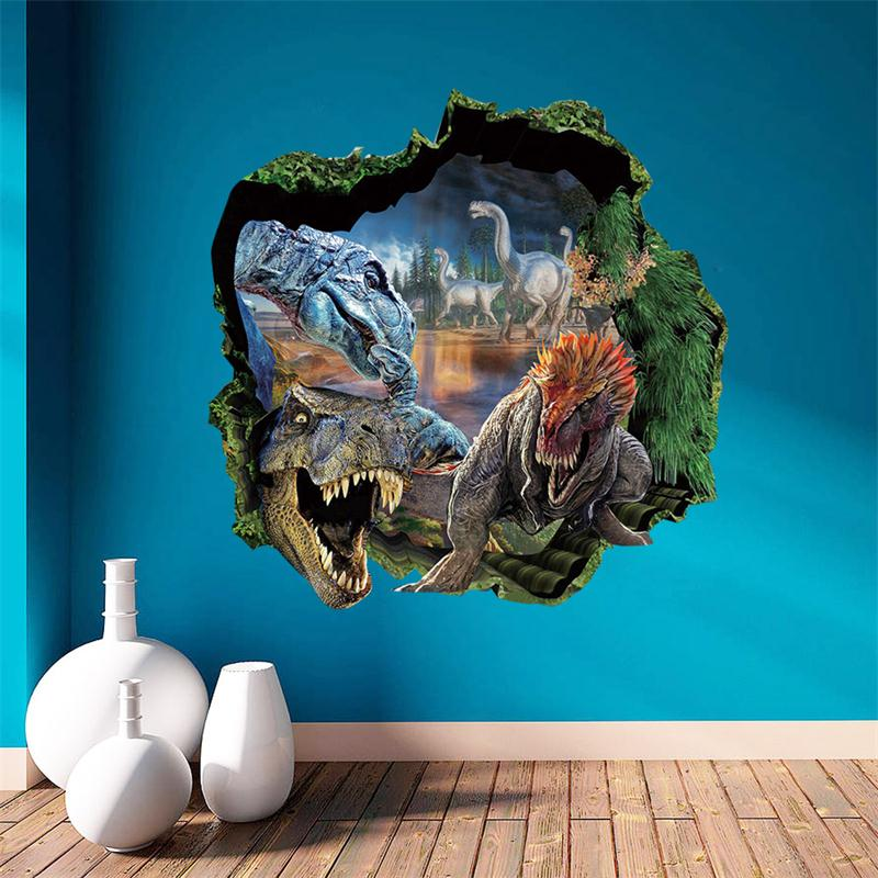 3D dinosaur park through the wall cartoon animals home decal wall sticker adesivo de parede for kids room boys bedroom decor in Wall Stickers from Home Garden