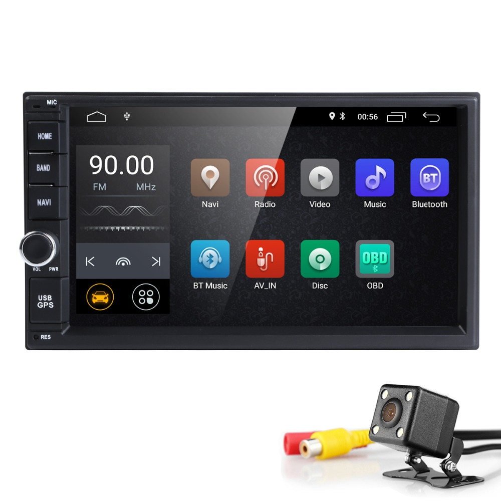 Hizpo Quad Core 7 2Din Android 8.1 Car NO-DVD Radio Multimedia Player 1024*600 Universal GPS Navigation auto radio Stereo Audio car dvd gps android 8 1 player 2din radio universal wifi gps navigation audio for skoda octavia fabia rapid yeti superb vw seat