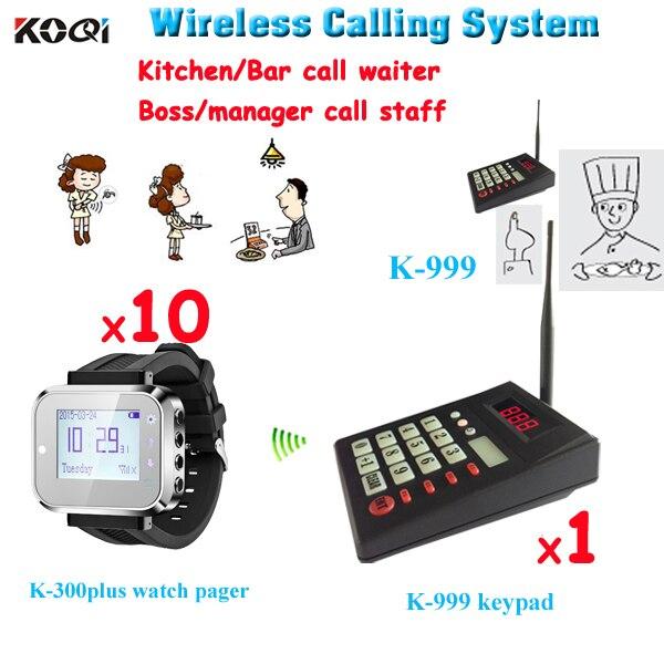 Système de radiomessagerie sans fil 1 Kerboard 10 montre-bracelet équipement de cuisine et de Restaurant montre téléavertisseur