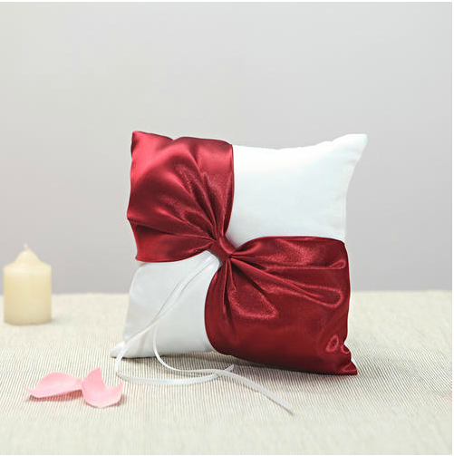 Vegas Theme White Wedding Ring Pillow With Wine Red Color Bowknot