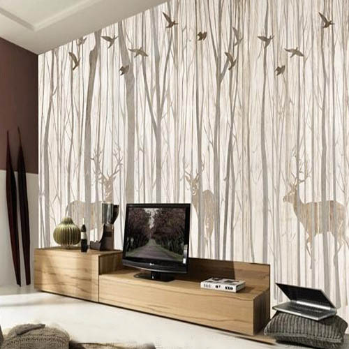 Living Room With Wallpaper Trees - Best site wiring harness