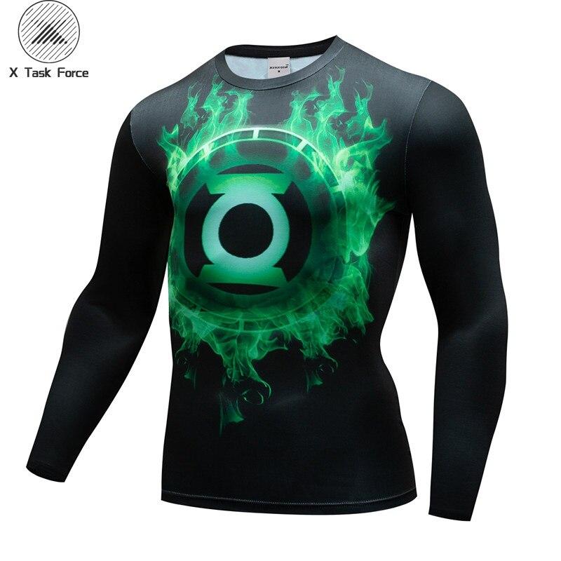 New Green Lantern Compression T Shirt Set Men Brand Tracksuit 3D Print Men Long Sleeve Fitness Clothing X Task Force Drop Ship