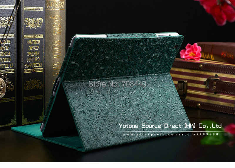 Phoenix Pattern Stand PU Leather case for ipad 3 4 2 New Luxury Smart Cover Smartcover iPad4 Flip Green Red Black YOTONE|leather lingeire|case