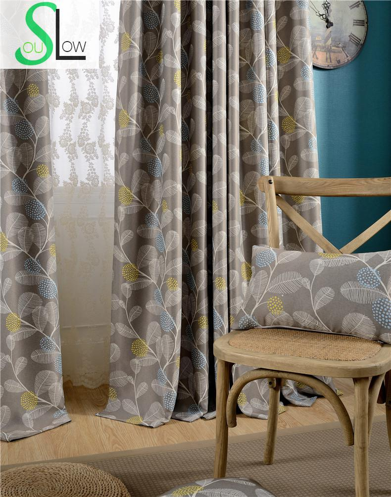 Luxury europe style curtains for living room leaves for Cortinas black out