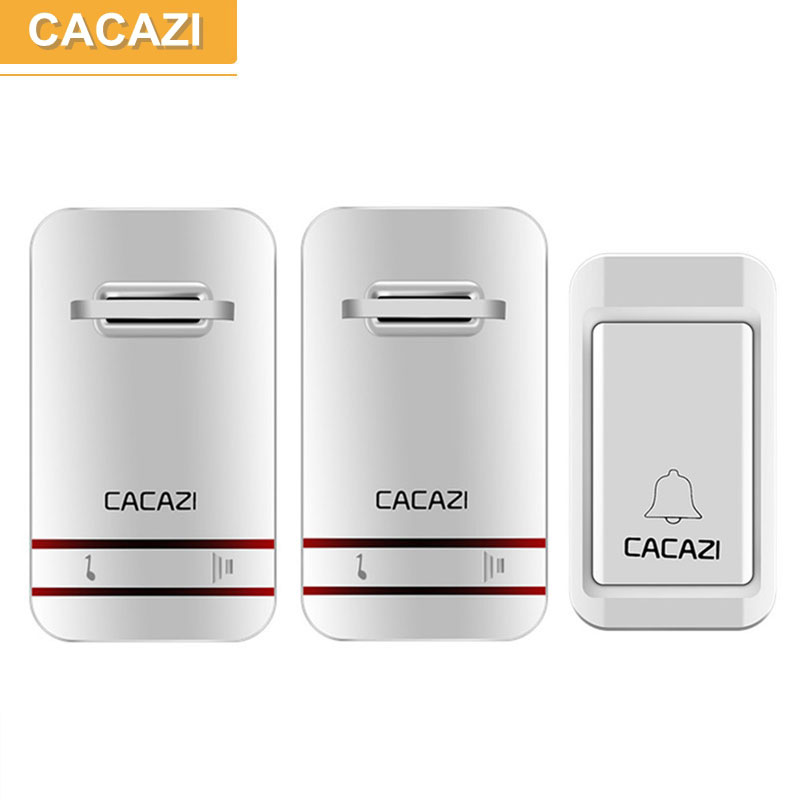 CACAZI 1 transmitter 2 receivers Wireless Doorbell Remote Door Bell Chime,No need battery,Waterproof,EU/US/UK Plug 110-220V ukingmei uk 2050 wireless in ear monitor system sr 2050 iem personal in ear stage monitoring 2 transmitter 2 receivers