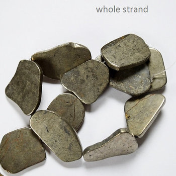 Genuine Pyrite Slab Beads, Gemstone beads, full strand 15