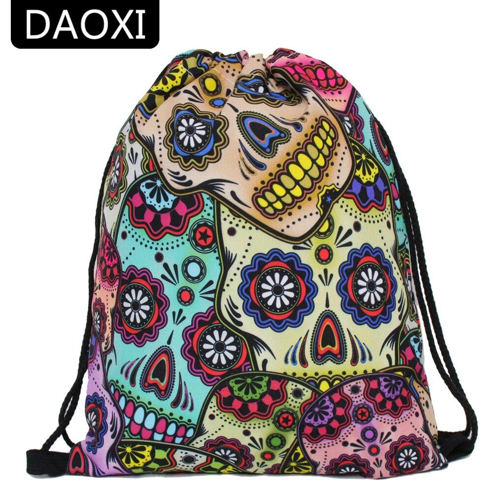 DAOXI Skull Drawstring Bag Women 3D Printing Colorful Fashion School Bags DXSKD-3