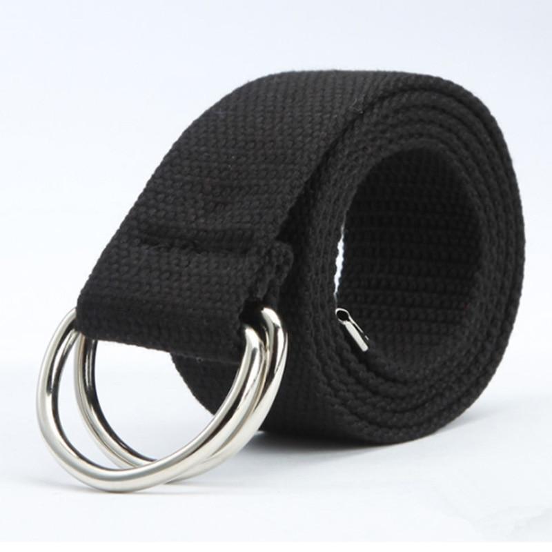 New Casual Unisex Canvas Fabric   Belt   Strap D Ring Buckle Webbing Waist Band Casual Jeans   Belt   5 Colors Cinturones Hombre