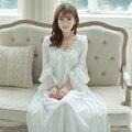 Frete Grátis Chiffon de Seda Princesa Camisola Longa De roupas de dormir Pijamas Nightgowns Branco e Rosa das Mulheres femininas PT1625