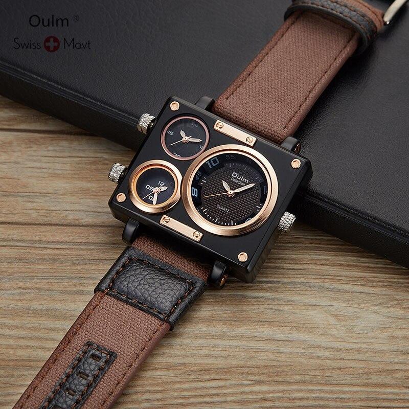 Oulm Новинка 2019 года часы для мужчин модные спортивные кварцевые сталь s часы лучший бренд класса люкс водонепроница