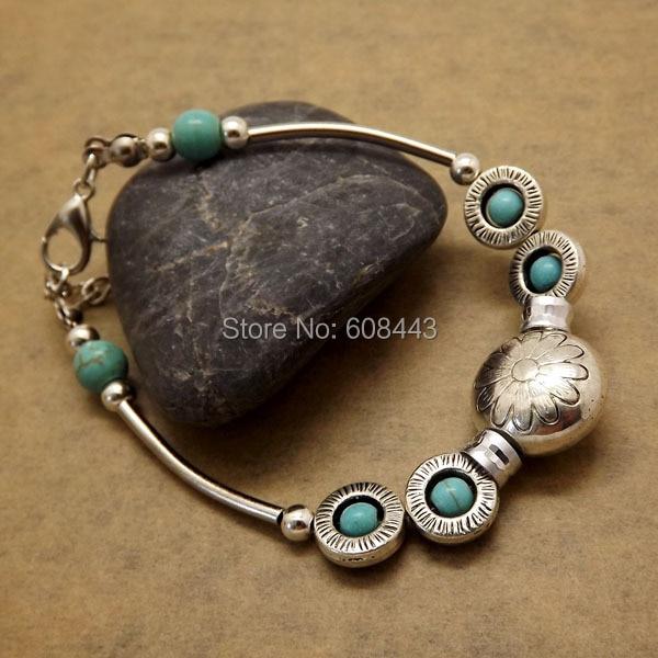BR259 Gypsy Tibetan Silver Color Howlite Stone Flower Beads Handmade Vintage Bracelet Bang