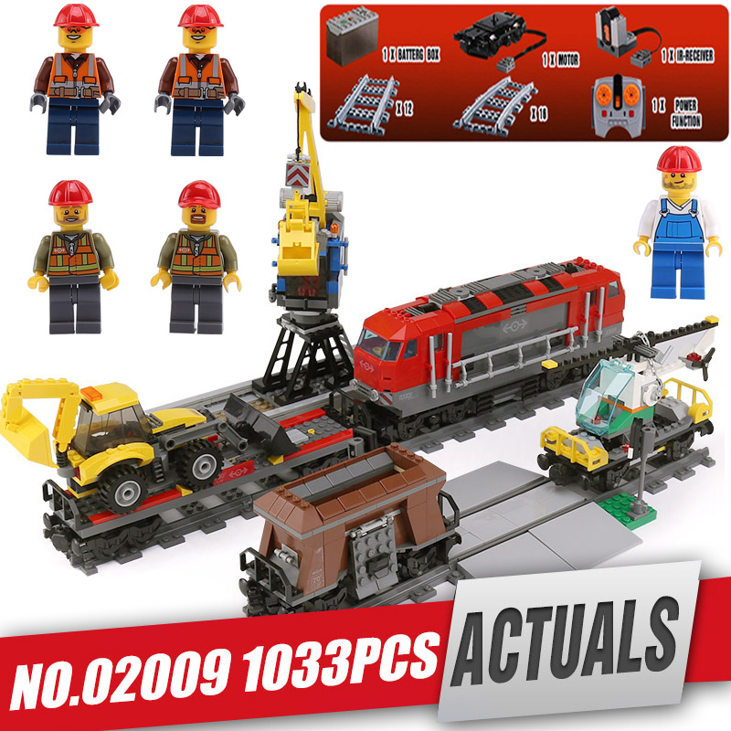 DHL Lepine City 02009 1033pcs Engineering Remote Control RC Trail Train Building Blocks Bricks with legoing 60098 Children Toy lepin 02009 1033pcs city engineering remote control rc train building block compatible 60098 brick toy