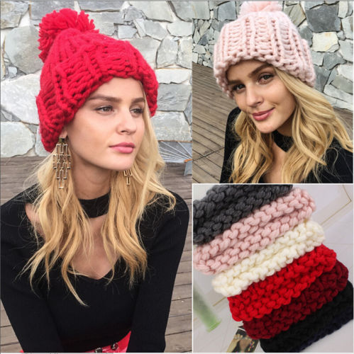 2018 Women Girl Stretch Knit Hat Messy Bun Ponytail   Beanie   Holey Warm Hats Winter One Size White Pink Black Red Navy Blue Gray